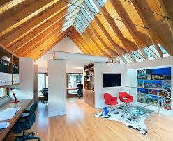 home office in garage. Inspiration For A Contemporary Home Office Remodel In Raleigh With White Walls Garage
