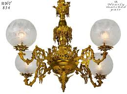 pair of chandeliers victorian neo rococo gasoliers 4 arm gas lighting ant 834