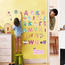 cartoon wall stickers for kids rooms alphabet letters wall decals nursery room decor mural art home decals kids gift