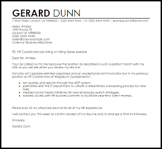 Human Resources Coordinator Cover Letter Sample Ideas Collection