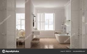 Weiße Falttür Eröffnung Modernen Skandinavischen Schlafzimmer Mit