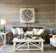 Gray leather living room furniture Sectional Farmhouse Living Room Light And Airy Look With Brown Sofa Warm White Tables Mix Of Textures And Gray Rustic Wood Wall Overstockcom Farmhouse Living Room That Will Make You Want Brown Sofa