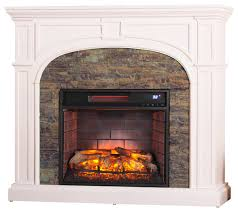 burnham faux stone infrared electric fireplace white traditional indoor fireplaces by sei