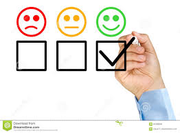 Hand Putting Check Customer Service Evaluation Form Stock Photo