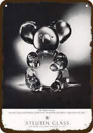details about 1968 steuben glass koala bear vintage look replica metal sign not actual bear