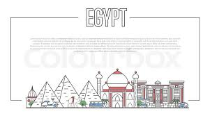 famous ancient architecture. Egypt Landmarks Panorama With Famous Ancient Architecture In Trendy Linear Style. Egyptian National Landmarks, Pyramids And Minaret On White Background.
