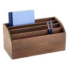 Desk Organizer Feathergrain Wooden Desktop Organizer The Container Store