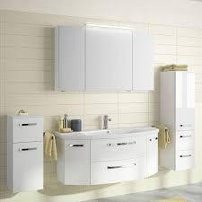 Badezimmer Set Hochglanz Waschtisch 120cm Keramik Waschbecken Led