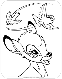 Bambi is the name of the fawn of a deer who lives in the forest with his parents. Coloring Page Of Bambi Admiring A Pair Of Birds Flying Overhead Bambi Horse Coloring Pages Disney Coloring Pages Turtle Coloring Pages