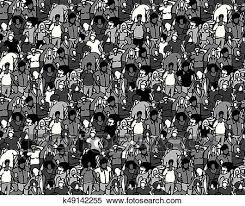 group of people clipart black and white. Beautiful People Clipart  Crowd Big Group People Seamless Pattern Black And White  Fotosearch Search Throughout Group Of People Black And White R