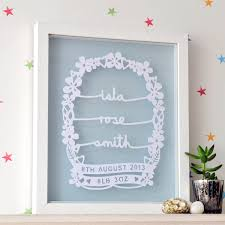 on personalised wall art for baby with personalised baby papercut wall art