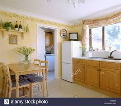 Small Fitted Kitchen Small Television On Top Of Fridge Freezer In Pastel Yellow Kitchen