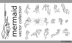 Zeemeermin Kleurplaat Set Stock Image And Royalty Free Vector Files