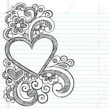 Heart Frame Border Back To School Sketchy Notebook Doodles Vector