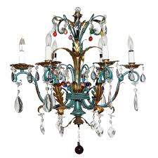 vintage 1940s italian green and gilt chandelier with colorful crystals for