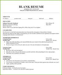 Blank Printable Resumes Blank Fill In Resume Templates Free Printable Template Here