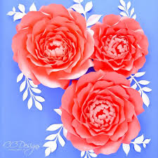 Peony Paper Flower Peony Rose Template Giant Paper Rose Flower Template