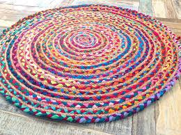 rag rugs fair trade shabby chic cotton jute braided multi coloured round rag rug hand woven rag rugs diy rag rugs ikea uk