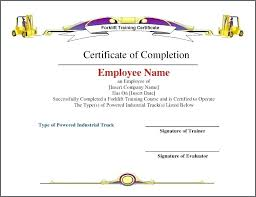 Certificate Templates Forklift Certification Card Template