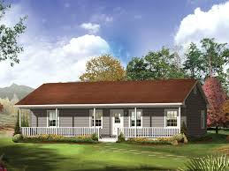 ranch style house with wrap around porch railing