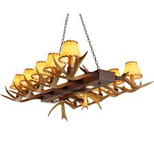 faux resin antler parchment bell shades island pool table 12 light linear chandelier