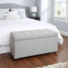 Storage benches for bedroom Tufted Storage Penelope Nail Head Silver Storage Bench The Home Depot Polyester Fabric Upholstered Bedroom Benches Bedroom