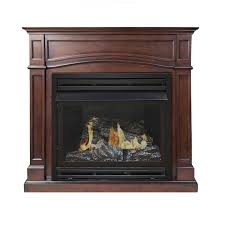gas fireplace with thermostat image 1 pleasant hearth 45 875 in dual burner vent free cherry liquid propane or natural