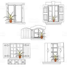 vintage window drawing. set of vintage window royalty-free stock vector art drawing t