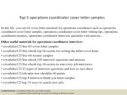 Operations Coordinator Cover Letter Top 5 Operations Coordinator Cover Letter Samples