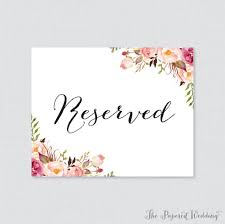Reserved Signs Templates Reserved Signs For Wedding Tables Reserved Signs For Tables Reserved