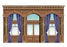 Interior Holzfassade Im Klassischen Stil Mit Vorhängen Fenster