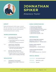 Teacher Resume Templates Inspiration Turquoise Green Navy Simple Modern Teacher Resume Templates By Canva
