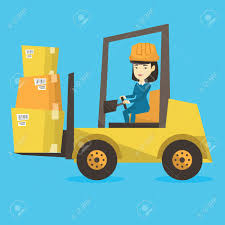 Asian Warehouse Worker Loading Cardboard Boxes Forklift Driver
