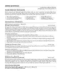 Food Service Manager Resume Template