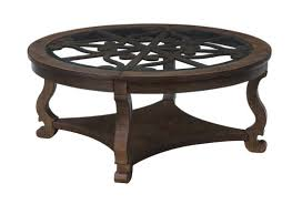small round dark wood coffee table for