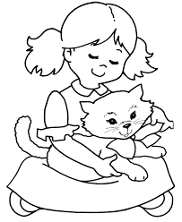 Cute Girl And Baby Cat Coloring Pages 5878 Baby Kitty Coloring
