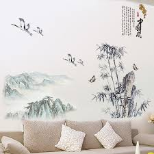 office wall stickers. Chinese Style Landscape Stickers Study Office Wall Paste Self-adhesive Removable