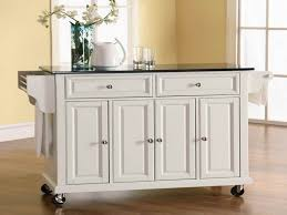 White Kitchen Island On Wheels Styles Combined With Cabinets And Granits On  Top Of The Table With Locking Wheels