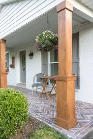 How To Wrap Existing Porch Columns In Stained Wood And Build A Craftsman  Style Base Unit To Add Character And Curb Appeal To Your Front Porch.