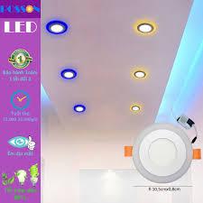 2 Đèn Led âm trần 6w = 3w +3w tròn mắt trâu 2 màu 3 chế độ Posson  LP-Ri3+3B-G 19998786