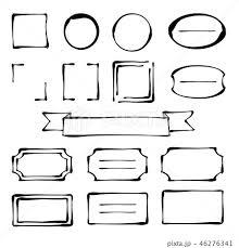 ペン画風 手描き フレームセット 黒 のイラスト素材 46276341 Pixta