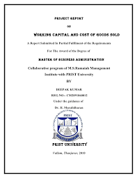 Project Report On Working Capital