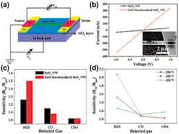 a schematic illustration of a single sno2 nanowire ba open i a schematic illustration of a single sno2 nanowire based fet b