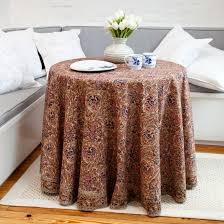 iznik fl print round tablecloth salmon beige