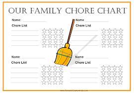 Family Chore Chart Template Free Family Chore Chart