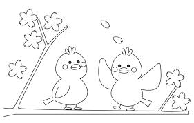 無料の桜の木にとまる鳥のぬりえ ぬりえパーク