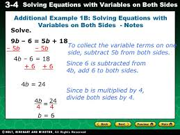 3 4 solving equations with variables on both sides solve