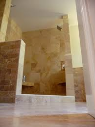 classy modern walk in shower no door with neutral brown varnished marble shower tiled also wall head shower inspirations