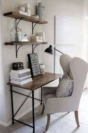 small office furniture office. Home Decorating Ideas - Small Office Desk In Rustic Industrial Glam Style. Wingback Chair, Simple Wood And Metal Frame Desk, Shelves With Black Furniture E