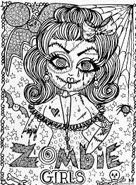 Coloriage Adulte Halloween Fille Zombie Dessin